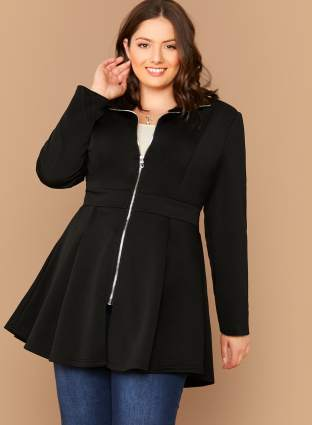 Black Zip front swing coat from Shein.