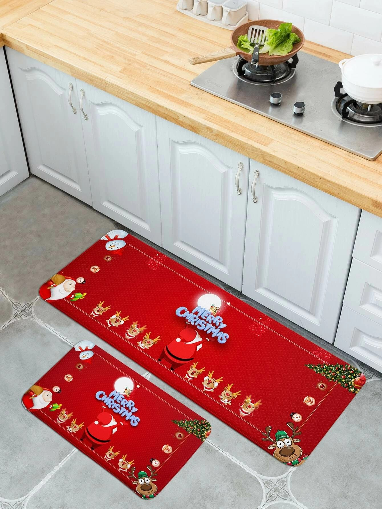 1pc Christmas Print Kitchen Floor Mat Shein Uk