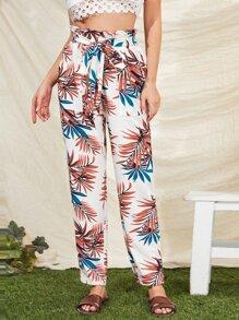 Tropical Print Paperbag Waist Self Belted Pants
