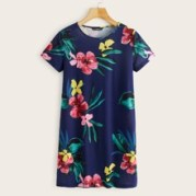 Tropical Print Tee Dress