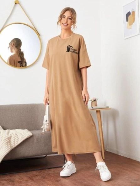 Robe t-shirt avec imprimé