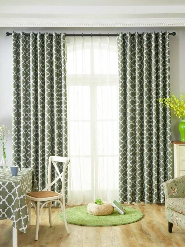 1 panneau rideau avec motif geometrique