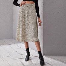 Zip Back Leopard Skirt