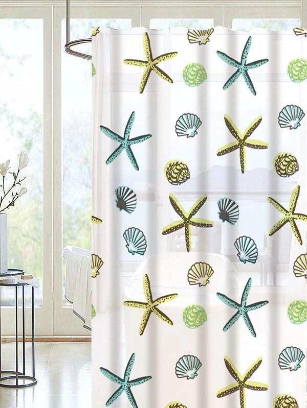 starfish print shower curtain