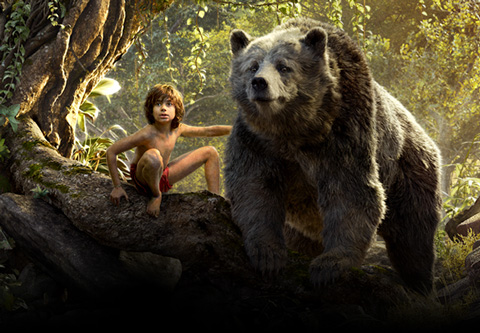 Neel Sethi and Bill Murrary voicing Baloo