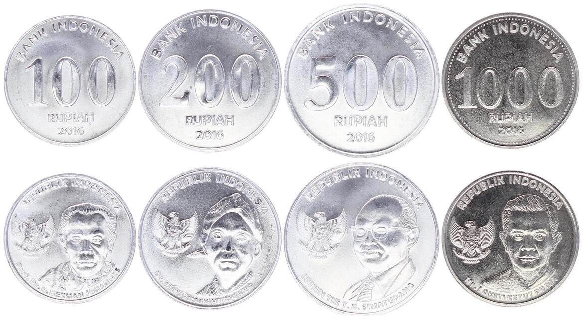 Indonesia Serial Of 4 Coins 100 To Rupiah