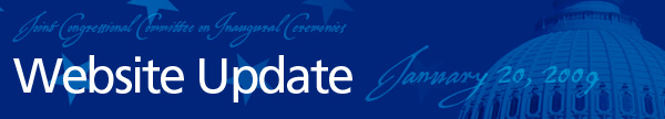 Joint Congressional Committee on Inaugural Ceremonies Website Update