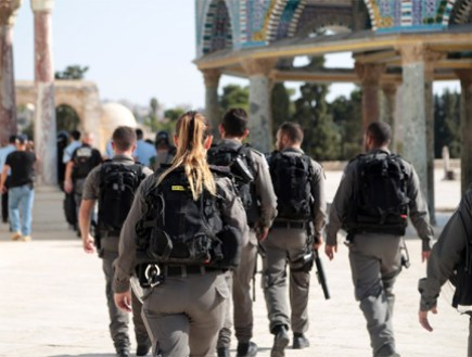 Police forces at the scene of the attack on the Temple Mount