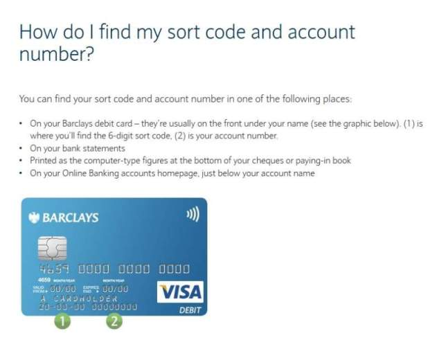 barclays bank number free uk