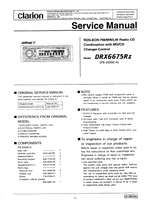 CLARION DRX6675RZ  Service Manual Immediate Download