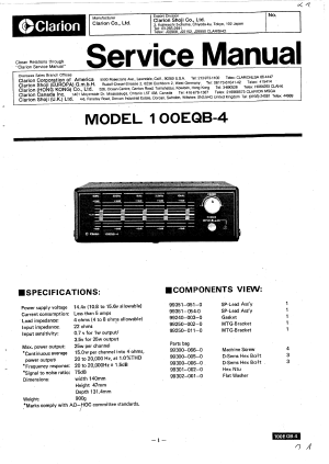 CLARION 100EQB4  Service Manual Immediate Download