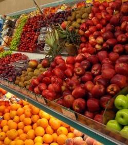 Fruits et légumes d'un supermarché