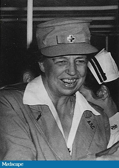 Eleanor Roosevelt, image from MedScape; at Pearl Harbor, 1943