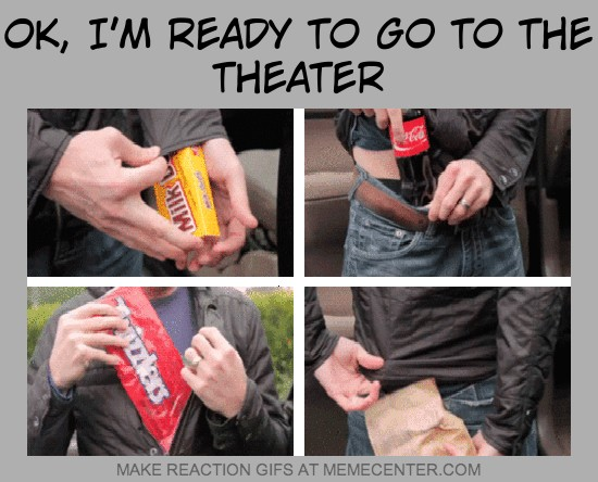 Image result for movie theater snacks memes
