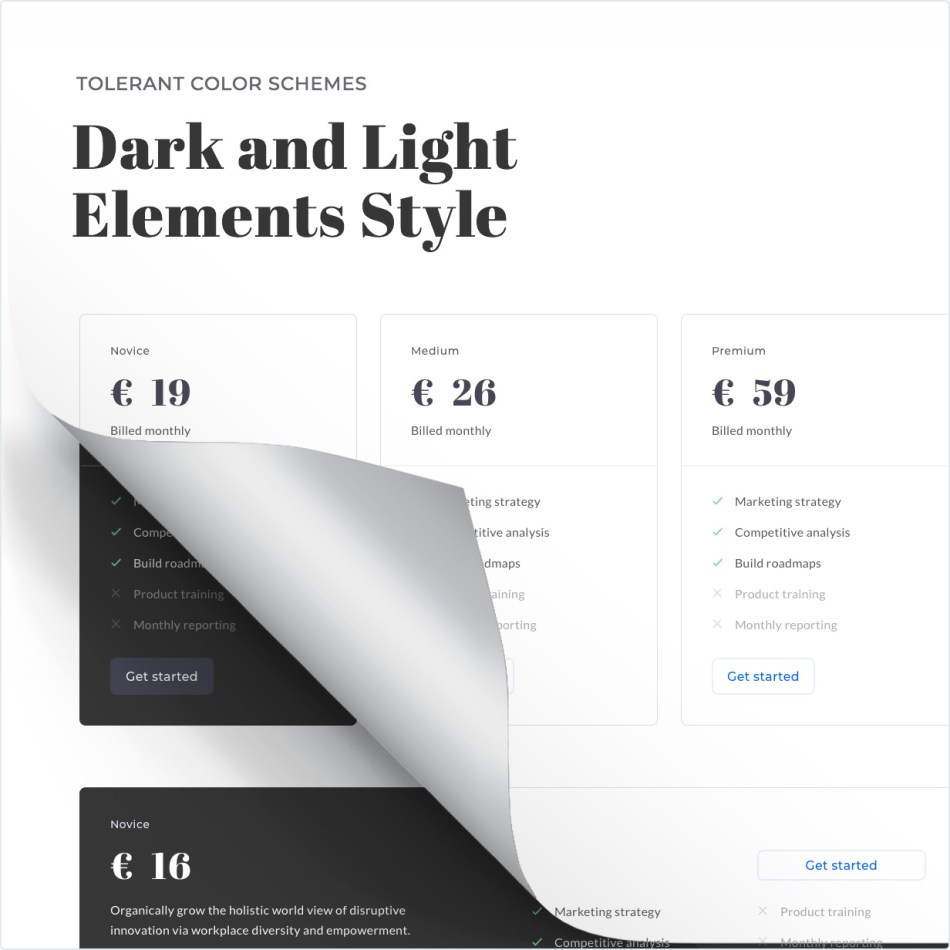 Dark and light elements styles