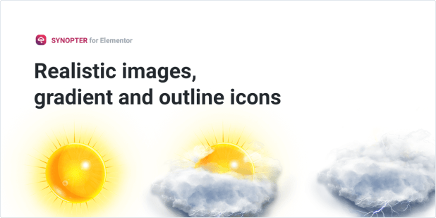 Realistic images, gradient and outline icons