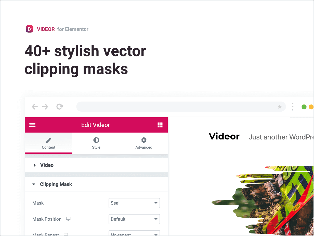 Download: Videor – Video Clipping Mask for Elementor   Recommended