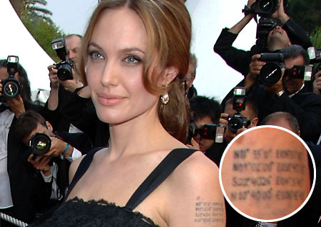 Jolie tattoo Jolie at Cannes and inset the geographical co-ordinates tattoo