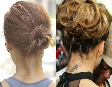 The actress had a labybird design tattooed onto the back of her neck two