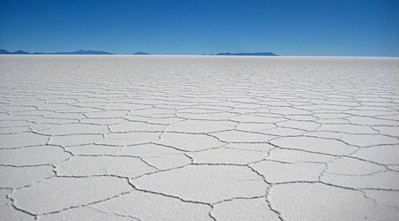 The dazzling white plains of the Salar de Uyuni, the largest salt lake in the world