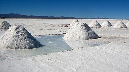 Piles of salt on the Salar