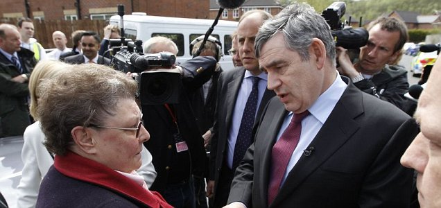 Gordon Brown talking to Mrs Duffy, who he later brands a 'bigot'