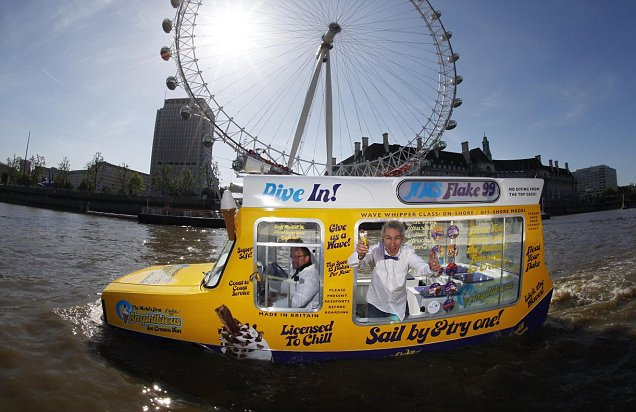 Ice cream man Jamie Campbell serves from first amphibious Ice Cream Van