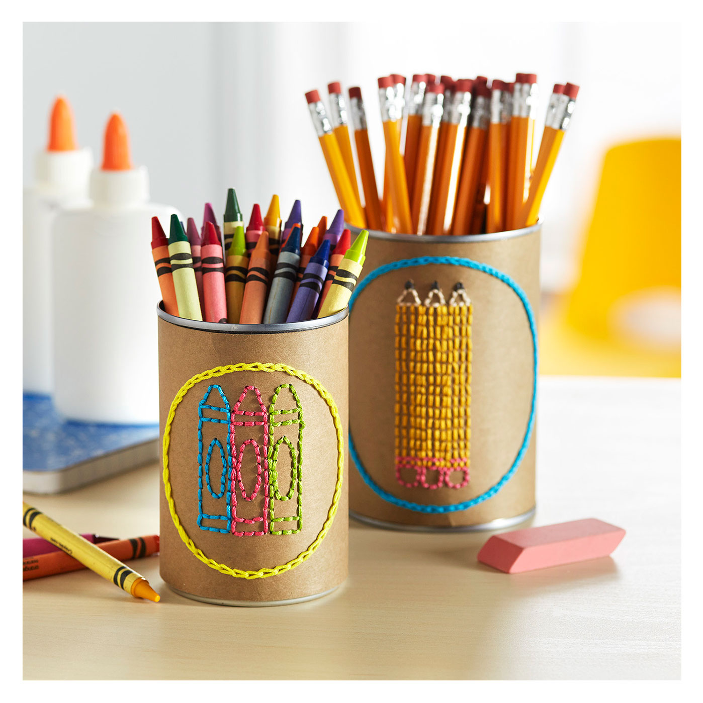 Upcycling Embroidered Craft Cups