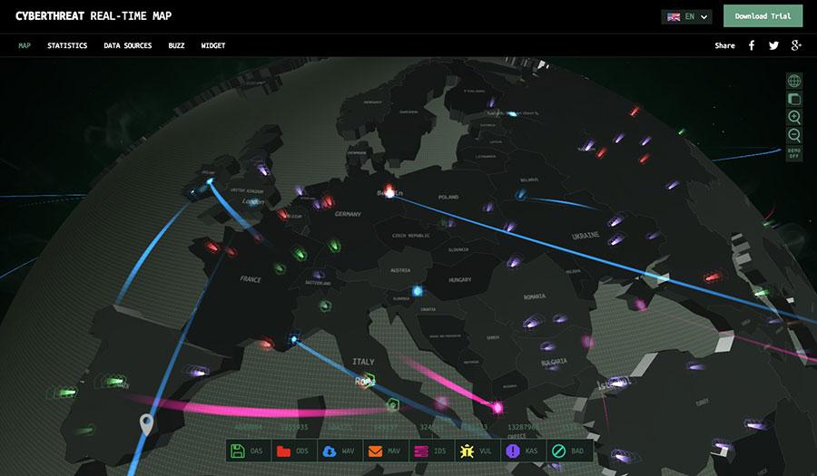 El mapa global de de ciberamenazas en tiempo real / kaspersky
