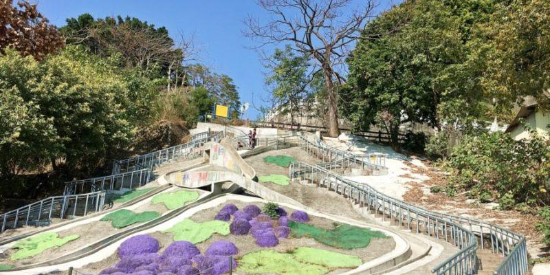 彰化員林景點 百果山風景區 全台最長幸福溜滑梯 長達75公尺 巨大葡萄造型 員林神社遺址 浩然台 免費景點 親子同遊 老少咸宜