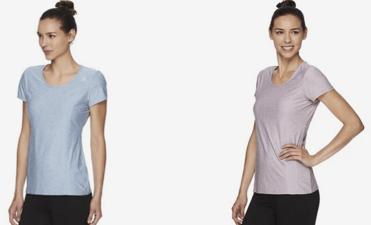 Reebok Women's Fitted Performance Light Weight Reversed Marled Jersey T-Shirt