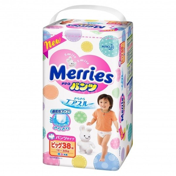 Детские подгузники-трусики Merries ХL 12-22кг 38шт (585803 ...