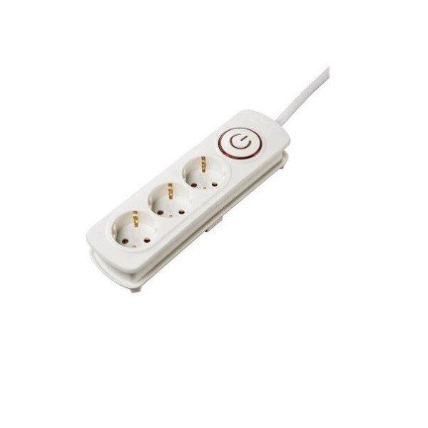 Удлинитель НАМА на 3 розетки, с выключателем, 1,5 м, белый ...