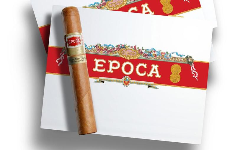 The new Epoca box is mainly white, save for a red band with the Epoca name spanning the center with a floral treatment above it.