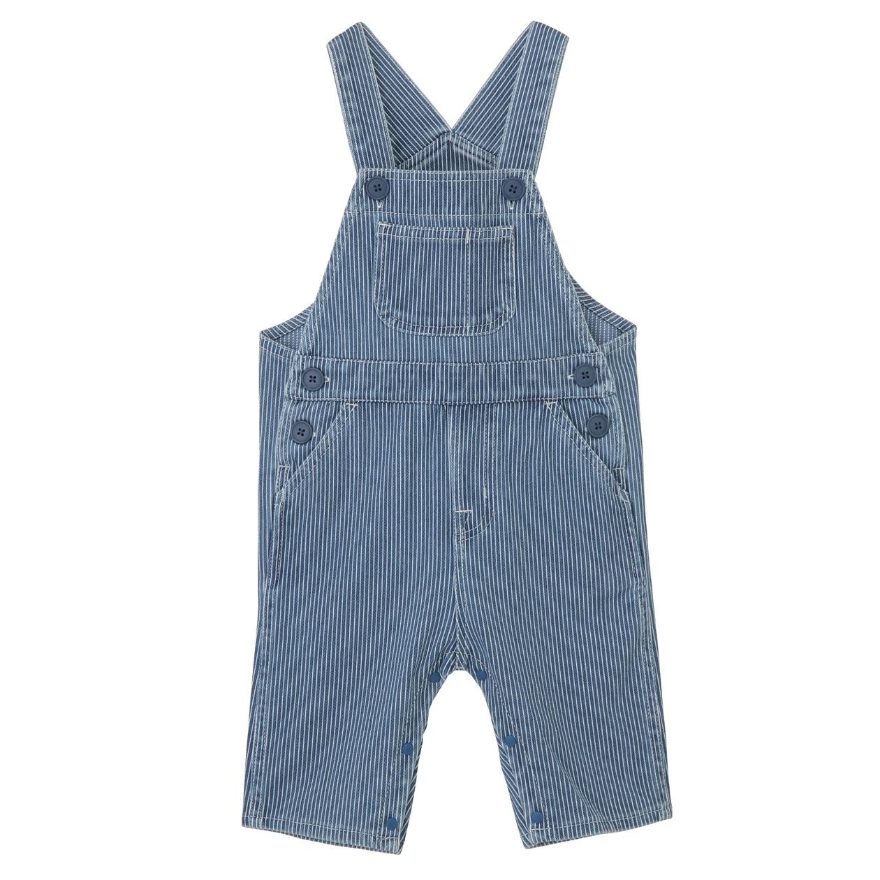 幼兒棉混輕鬆活動舒適拼接針織丹寧吊帶七分褲 藍直紋80 | 無印良品