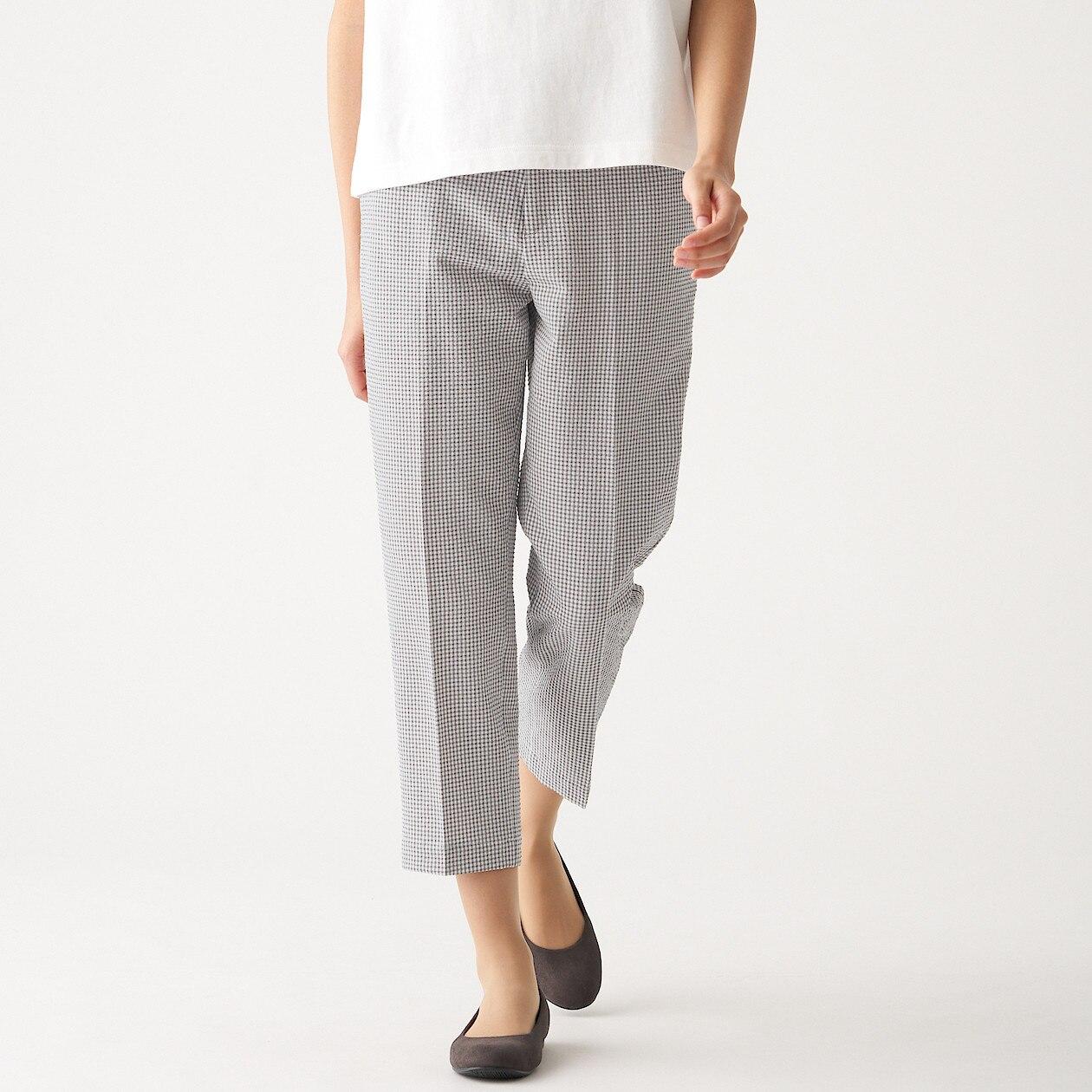 女聚酯纖維彈性泡泡紗錐形褲 墨灰格紋M | 無印良品
