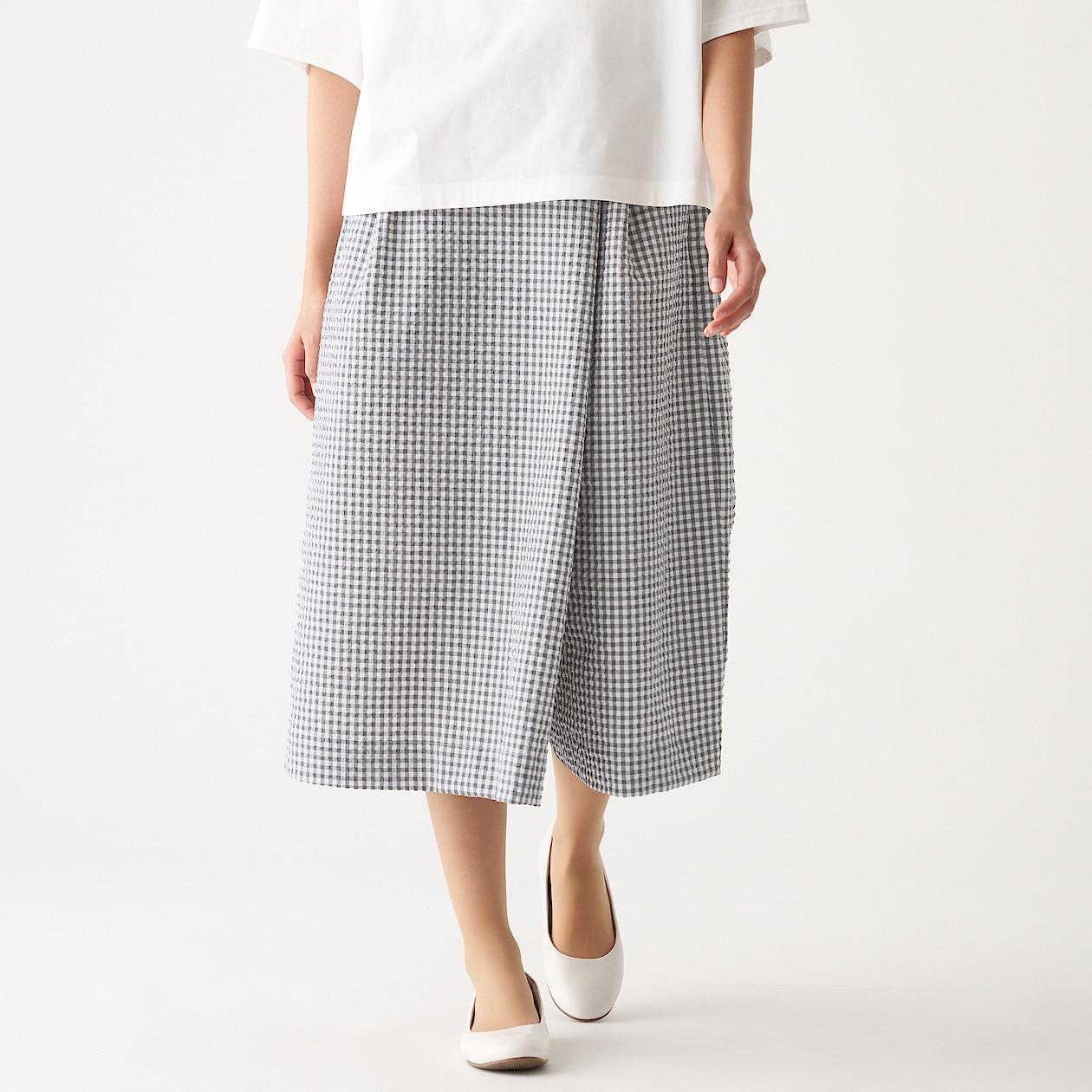 女聚酯纖維彈性泡泡紗寬擺褲 墨灰格紋XL | 無印良品