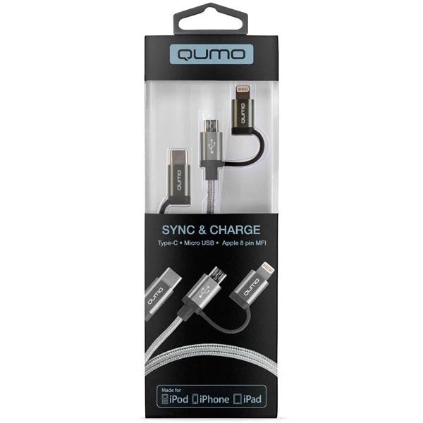 Купить Кабель для сотового телефона Qumo 3 в 1: Type-C ...