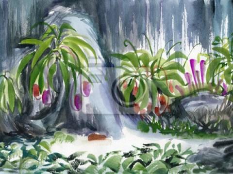 oase teich fototapete: tropische oase mit dekorativem wasserfall und teich umgeben von