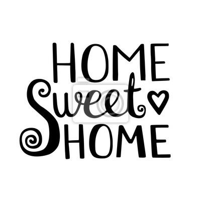 sticker home sweet home schriftzug vektor hand gezeichnet schriftzug
