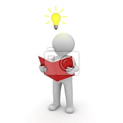 3d homme debout et lisant un livre avec idee ampoule au dessus images myloview
