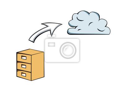 image dessin vectoriel du classeur et fleche pointant vers un nuage