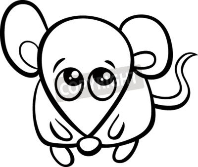 noir blanc dessin anime illustration mignon petit souris images myloview