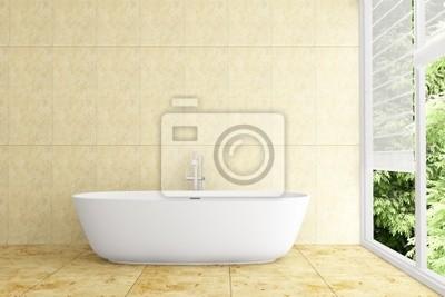 salle de bain moderne avec carrelage beige sur le mur et le plancher images myloview