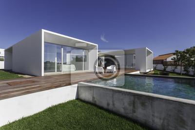 Papiers Peints Maison Moderne Avec Piscine Dans Le Jardin Et Terrasse En Bois