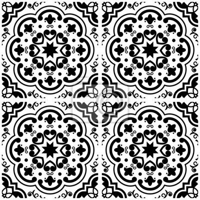 azulejos motif de carrelage portugais carreaux noir et blanc posters myloview