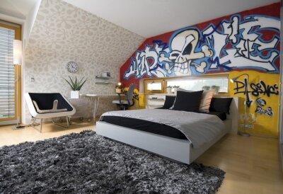Carta da parati per la cameretta: Graffiti In Camera Dei Ragazzi Carta Da Parati Carte Da Parati Interni Arredamento Comfort Myloview It
