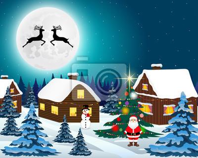 Visualizza altre idee su paesaggi, dipingere immagini, disegni di paesaggi. Paesaggio Di Foresta Di Natale Di Notte Babbo Natale Con Renne Carta Da Parati Carte Da Parati Slitta Claus Ghirlanda Myloview It