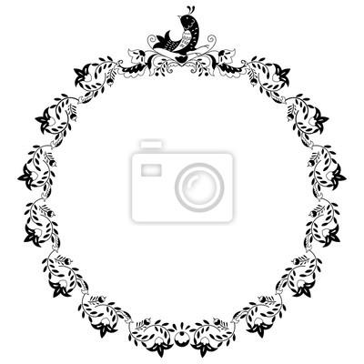 Quadro Cornice Rotonda Bordo Bianco E Nero Con Fiori Doodle E Uccelli