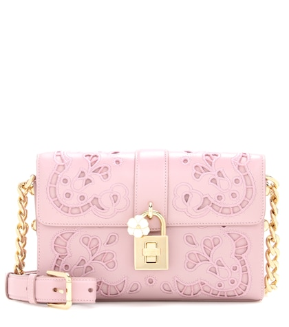 Embroidered Dolce leather crossbody bag
